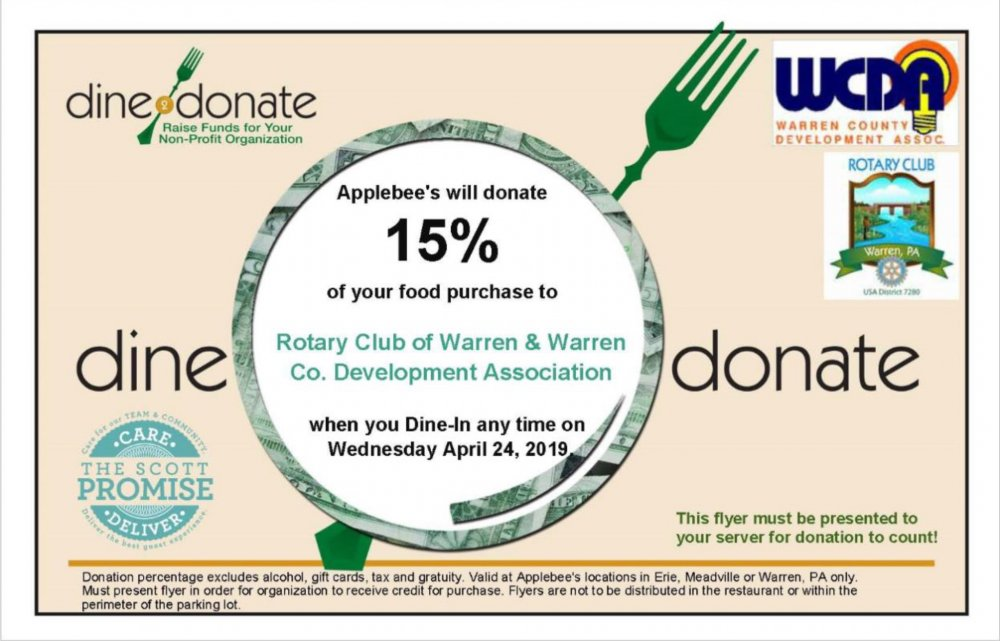 """Dine2Donate"" at Applebee's Wednesday April 24th"